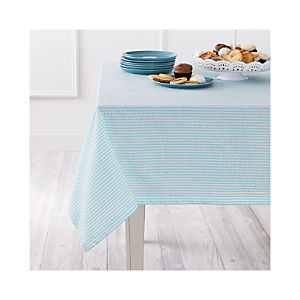 Seersucker Aqua Tablecloth