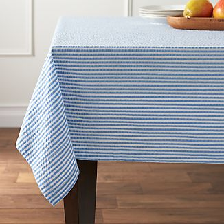 "Seersucker Blue 60""x120"" Tablecloth"