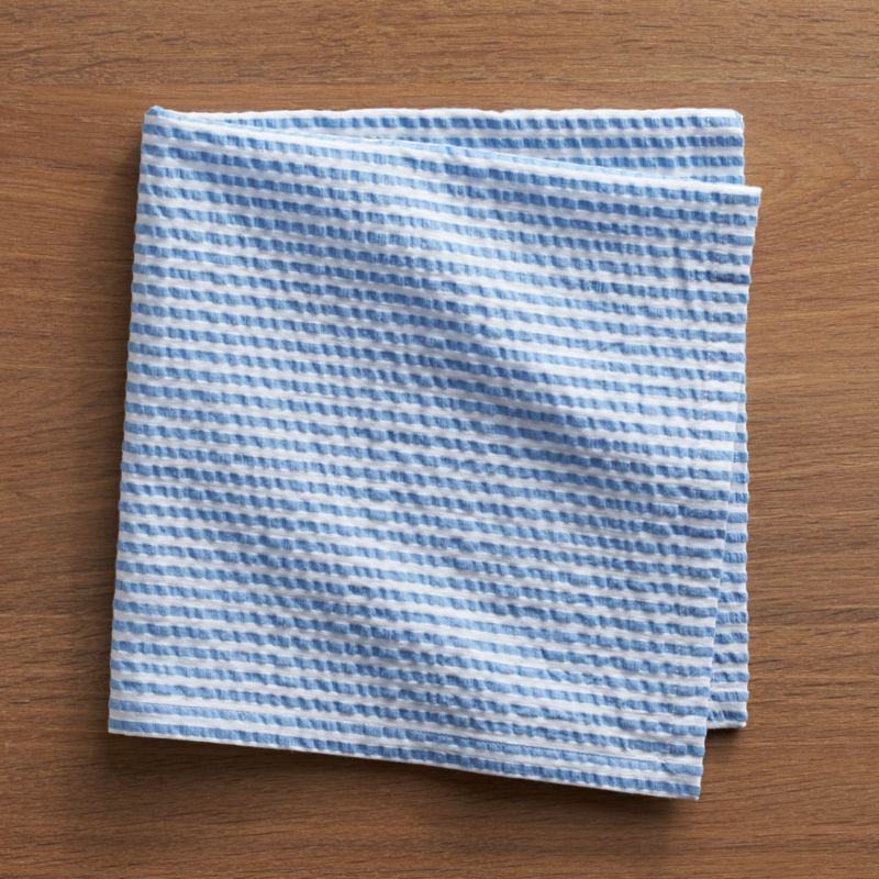 Yarn-dyed cotton seersucker napkin invokes the breezy summer season all year long, adding texture to your tablescape.<br /><br /><NEWTAG/><ul><li>100% yarn-dyed cotton seersucker</li><li>Do not dry clean or bleach</li><li>Machine wash cold, tumble dry; warm iron as needed</li><li>Made in India</li></ul>