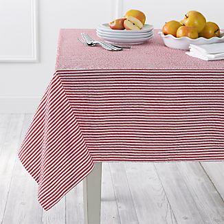 Seersucker Red Tablecloth