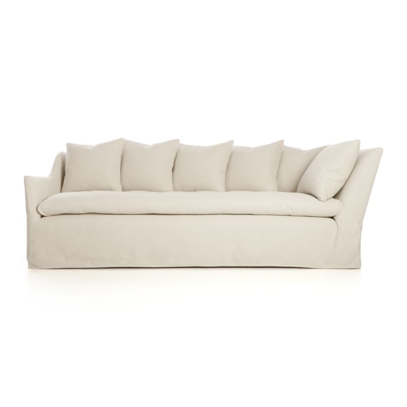 A modern lounge sofa so relaxed, it feels like you're sinking into a cloud. Sheltering box frame with super-narrow padded arms makes way for an extra-fluffy duvet seat and a row of plump back cushions. Relaxed, natural cotton-linen slipcover is washed and brushed to exceptional softness to make this a favored destination for curling up and settling in.<br /><br />After you place your order, we will send a fabric swatch via next day air for your final approval. We will contact you to verify both your receipt and approval of the fabric swatch before finalizing your order.<br /><br /><NEWTAG/><ul><li>Eco-friendly construction</li><li>Certified sustainable, kiln-dried engineered hardwood frame</li><li>Cushions are 100% feather-down blend, encased in downproof ticking</li><li>Sinuous wire suspension</li><li>Slipcovered in 67% cotton and 37% linen with top-stitched detailing</li><li>Dry clean removable slipcovers</li><li>Benchmade</li><li>Made in North Carolina, USA</li></ul><br />