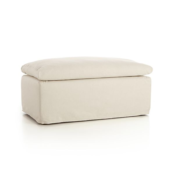 Serene Slipcovered Ottoman and a Half