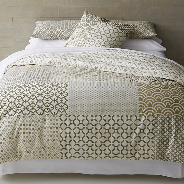 Sereno Neutral Hand-Blocked King Duvet Cover