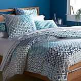 Sereno Blue Hand-Blocked Full/Queen Duvet Cover