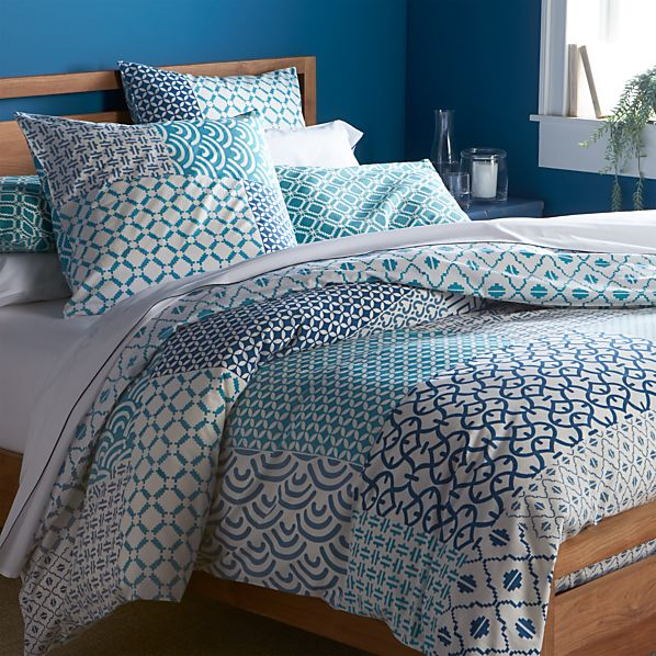 Sereno Blue Hand-Blocked King Duvet Cover