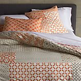 Sereno Coral Hand-Blocked Full/Queen Duvet Cover