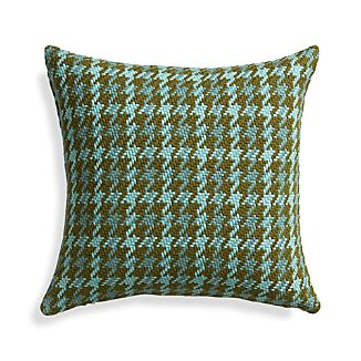 "Seville Aqua 18"" Pillow with Feather-Down Insert"