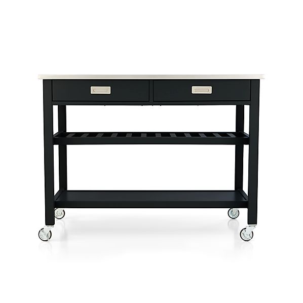 Kitchen Island Accessories: Sheridan Black Kitchen Island In Kitchen Islands & Carts