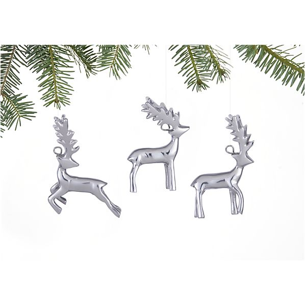 Set of 3 Rustic Silver Reindeer Ornaments