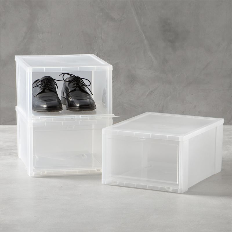 Drop-front shoe boxes stack several pairs within easy reach while maximizing storage space. Large box is perfect for men's shoes, women's boots, bags or purses.<br /><br /><NEWTAG/><ul><li>Polypropylene</li><li>Made in USA</li></ul><br />