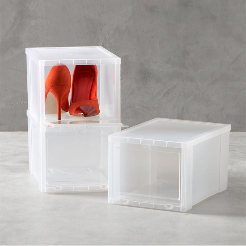 Drop-front shoe boxes stack several pairs within easy reach while maximizing storage space. Small box is perfect for women's or children's shoes.<br /><br /><NEWTAG/><ul><li>Polypropylene</li><li>Made in USA</li></ul><br /><br />
