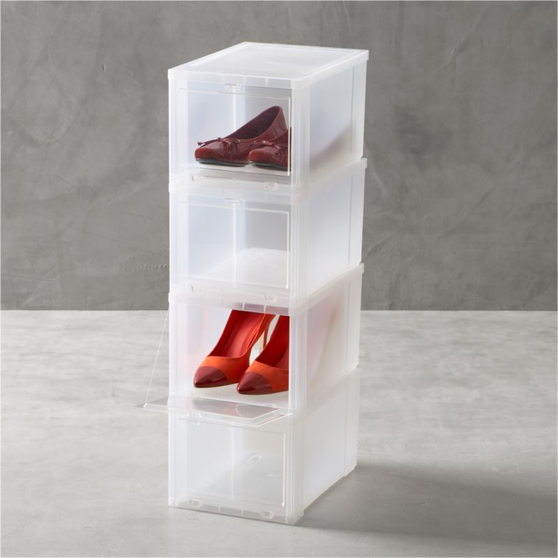 Drop-front shoe boxes stack several pairs within easy reach while maximizing storage space. Small box is perfect for women's or children's shoes.<br /><br /><NEWTAG/><ul><li>Polypropylene</li><li>Made in USA</li></ul>