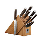 Shun&amp;#174; Premier 9-Piece Knife Set: 8&amp;quot; chef&amp;#39;s knife, 9.5&amp;quot; slicer, 9&amp;quot; bread knife, 6.5&amp;quot; utility knife, 4&amp;quot; paring knife, 3&amp;quot; vegetable knife, 8.5&amp;quot; shears, 9&amp;quot; sharpening steel and 7.75&amp;quot;Wx17&amp;quot;Dx9&amp;quot;H bamboo knife block.
