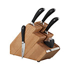 "Robert Welch ® Signature 6-Piece Knife Block Set: 4"" paring knife, 5.5"" chef's knife, 8"" chef's knife, 8.5"" bread knife, American oak knife block, built-in ceramic wheel sharpener"
