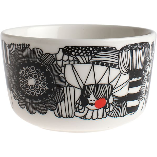"Marimekko Siirtolapuutarha Black and White 3.75"" Bowl"