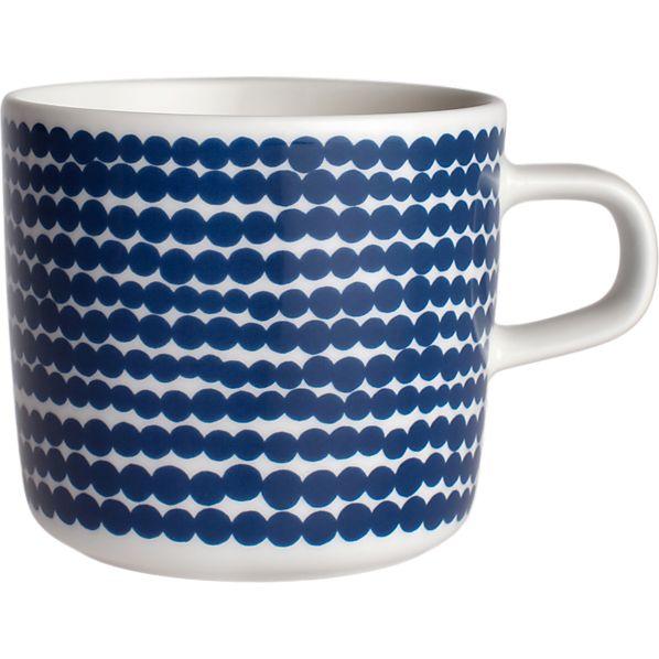 Marimekko Siirtolapuutarha Räsymatto Blue and White Cup