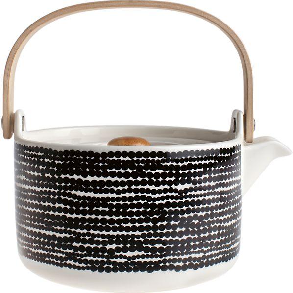 Marimekko Siirtolapuutarha Räsymatto Black and White Teapot