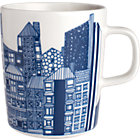 "Blue and White Mug. 8 oz.; 3""dia.x3.5""H"