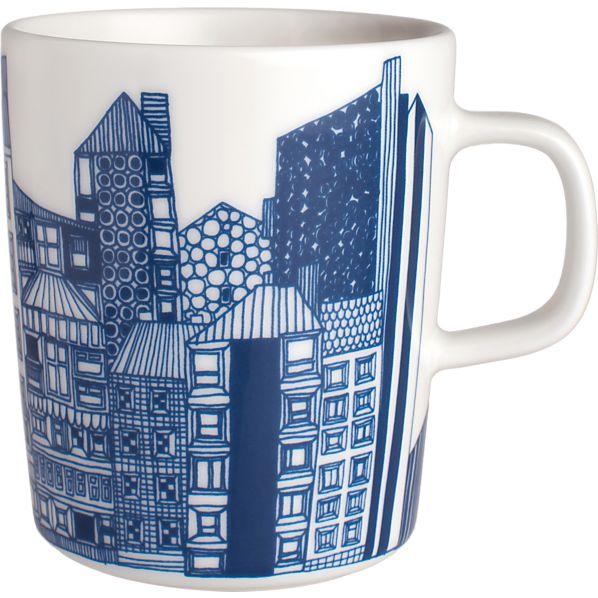 Marimekko Siirtolapuutarha Blue and White Mug