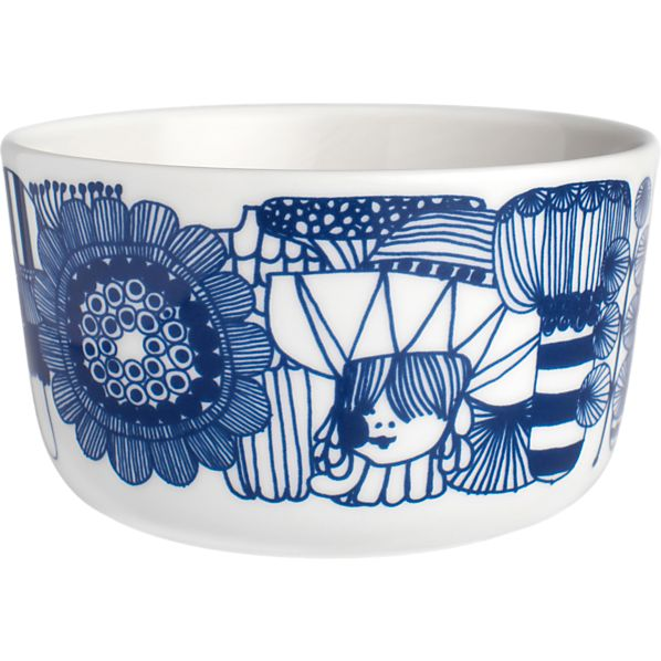 "Marimekko Siirtolapuutarha Blue and White 3.75"" Bowl"