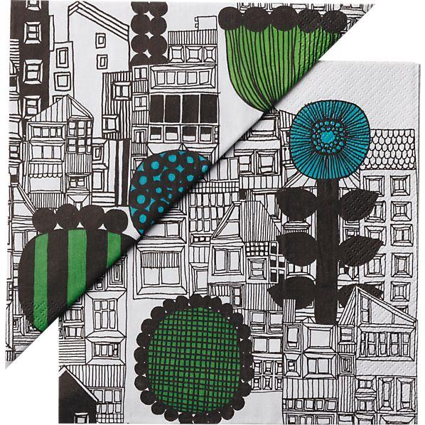 "Set of 20 Marimekko Siirtolapuutarha Paper 6.5"" Napkins"