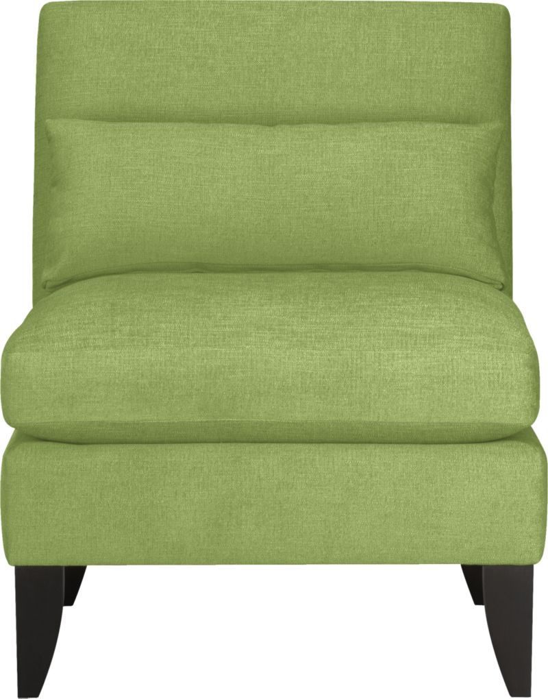 "Ever so proper armless chair winks at tradition with a fresh colors and playful new proportions. Tight back with subtle curves, punctuated with eye-catching corner base miters.<br /><br />After you place your order, we will send a fabric swatch via next day air for your final approval. We will contact you to verify both your receipt and approval of the fabric swatch before finalizing your order.<br /><br /><NEWTAG/><ul><li>Eco-friendly construction</li><li>Certified sustainable kiln-dried hardwood frame</li><li>Seat cushions are soy-based polyfoam with feather-down blend encased in downproof ticking</li><li>Tight back is soy-based polyfoam</li><li>Includes 25""x10"" down-blend pillow</li><li>Sinuous wire spring suspension</li><"