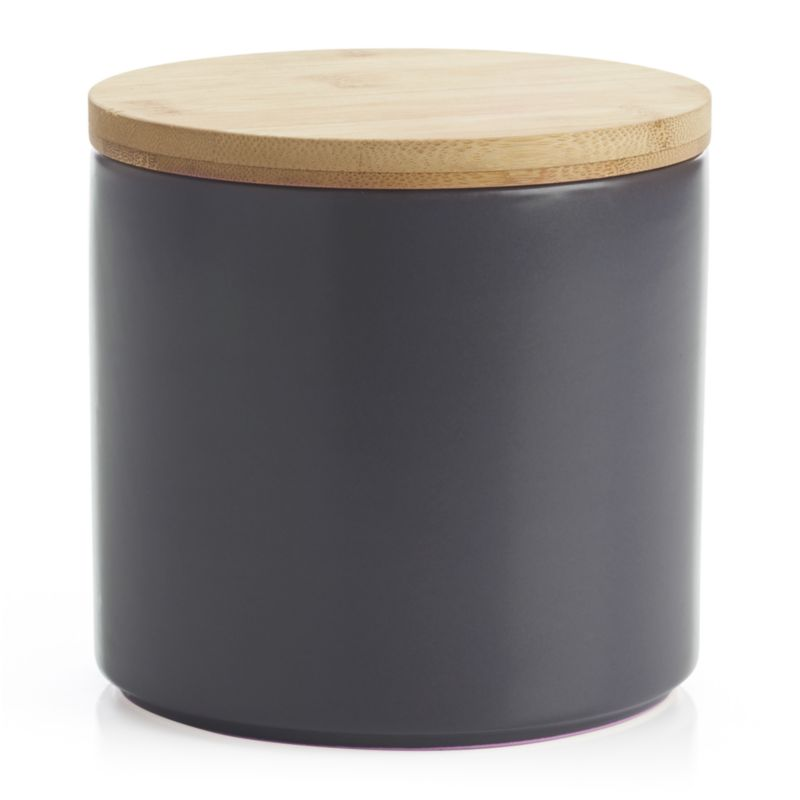 Clean, contemporary styling in durable stoneware, warmed by a brushed nickel glaze and natural bamboo lid. Silicone lid gasket forms a tight seal, locking in freshness and locking out moisture. Stackable canisters store staples in style on the countertop or pantry.<br /><br /><NEWTAG/><ul><li>Stoneware</li><li>Matte glaze finish</li><li>Bamboo lid with silicone gasket</li><li>BPA-free</li><li>Canister is dishwasher-safe</li><li>Hand wash the bamboo lid</li><li>Made in China</li></ul>