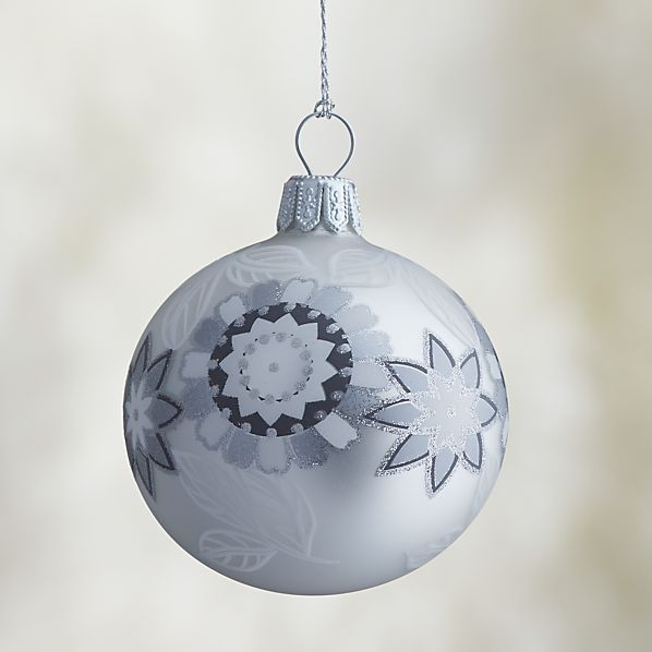 White Silver Glitter Flower Ball Ornament