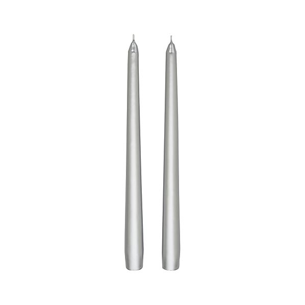 Set of 2 Silver Taper Candles