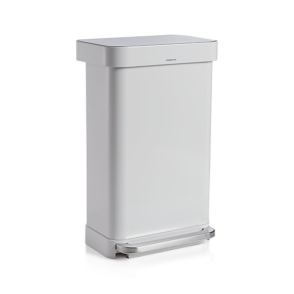 Oxo Stainless Steel Trash Can: Simplehuman ® 45-liter/12-gallon White Rectangular Step Can