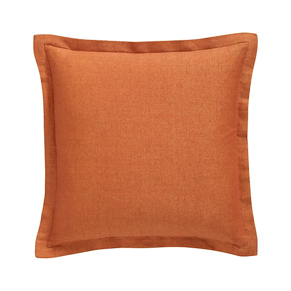"Skylar Orange 18"" Pillow with Feather-Down Insert"