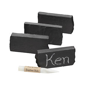 Slate Placecard Holders with Soapstone Chalk Set of Four