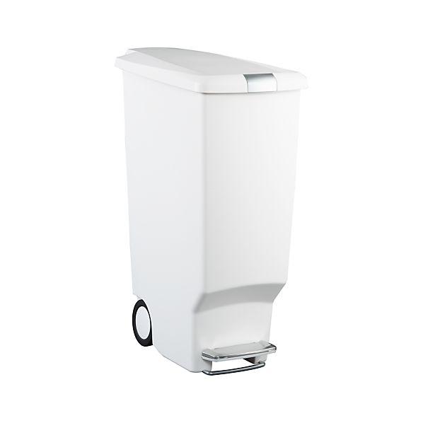 simplehuman ® 10.5-Gallon White Slim Step Trash Can