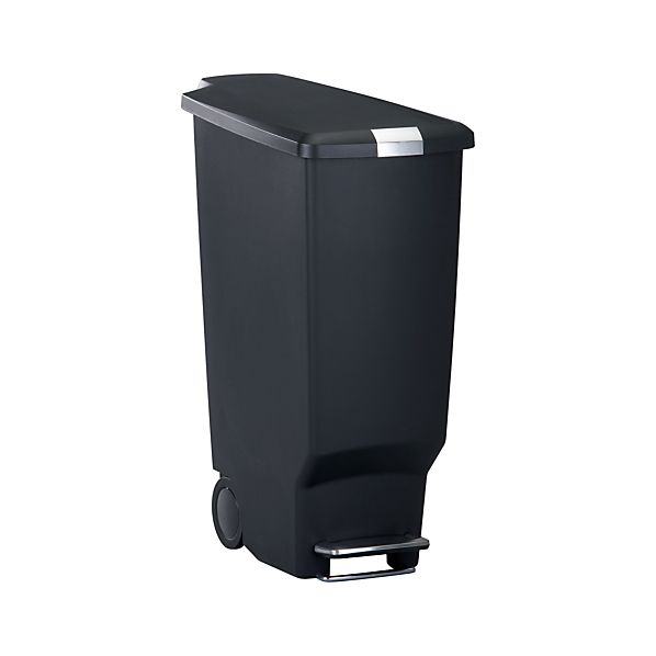 simplehuman® 10.5-Gallon Black Slim Step Trash Can