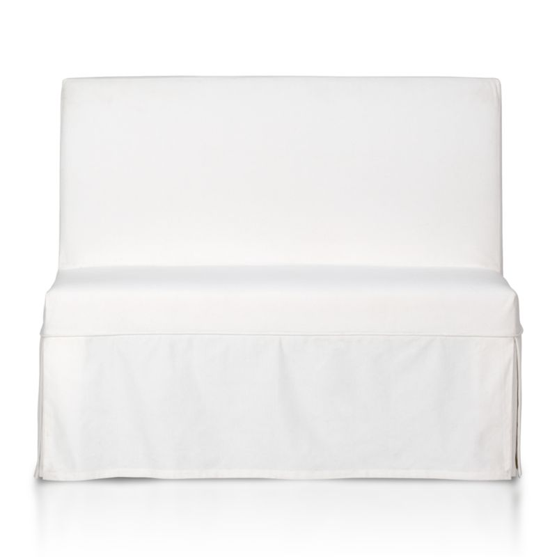 Custom-fitted, washable slipcover is expertly tailored with box pleats and a clever panel that secures the cover to our Slip Bench (sold separately) with self-adhesive tab closures.<br /><br /><NEWTAG/><ul><li>100% cotton canvas</li><li>Machine washable</li><li>Made in India</li></ul>