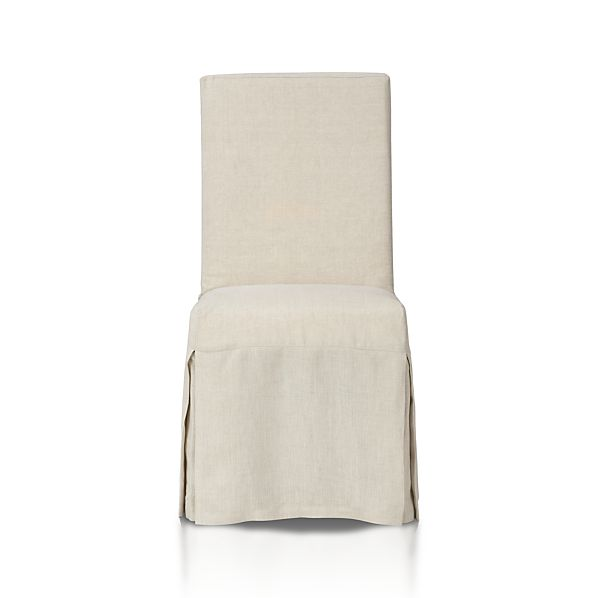 Slip Side Chair With Linen Slipcover In Dining Chairs