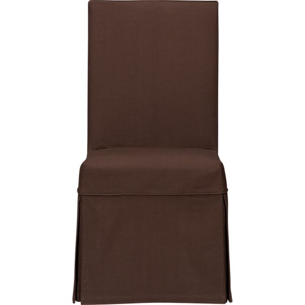 Slip Side Chair with Chocolate Slipcover