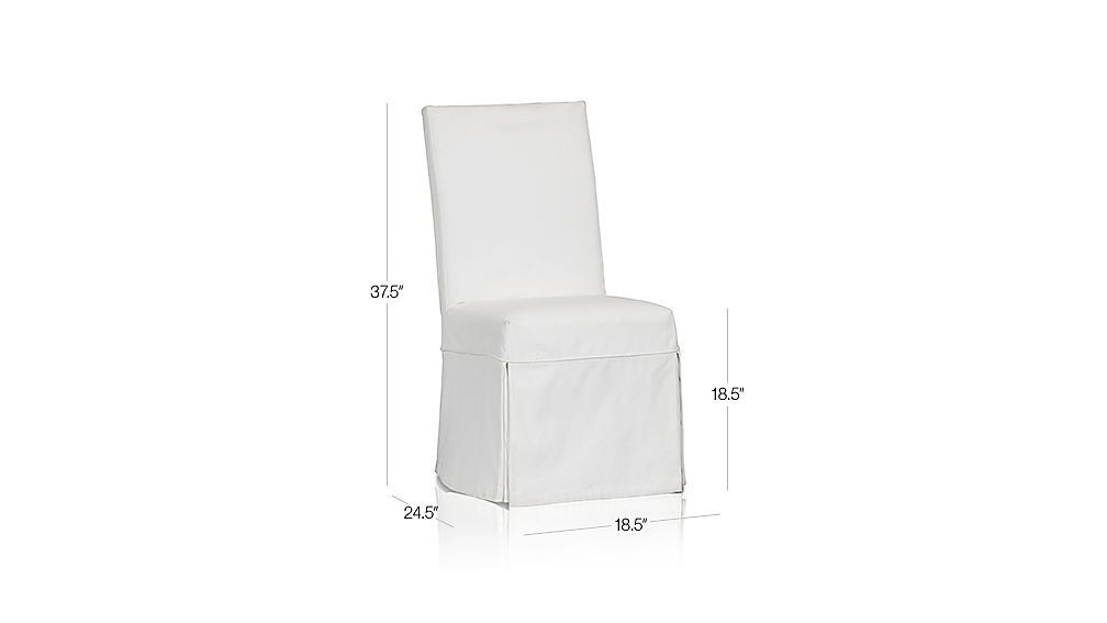 Slip Side Chair with White Slipcover Dimensions