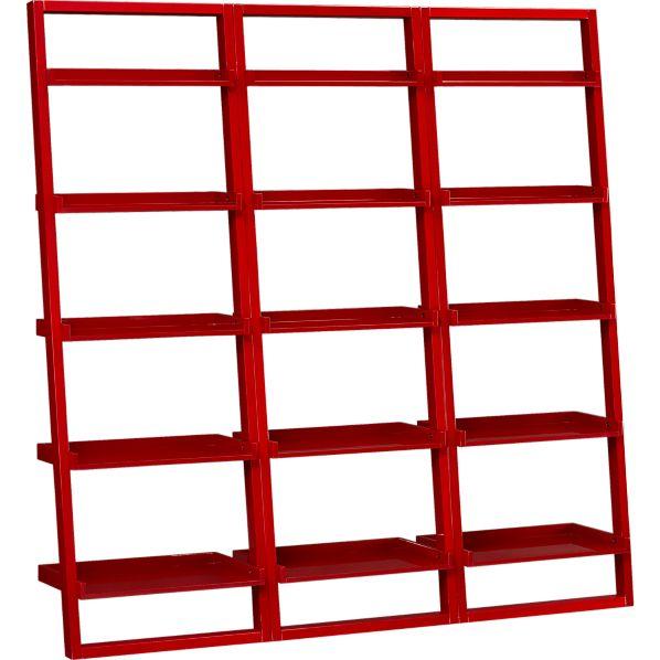 "Set of 3 Sloane Crimson 25.5"" Leaning Bookcases"