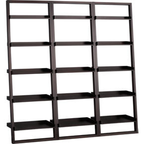 Set of 3 Sloane Espresso 25.5 Leaning Bookcases