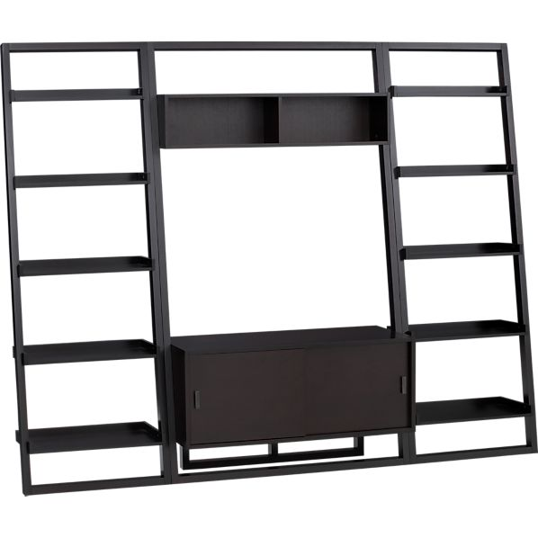 "Sloane Espresso 43.75"" Leaning Media Stand with 2 25.5"" Bookcases"