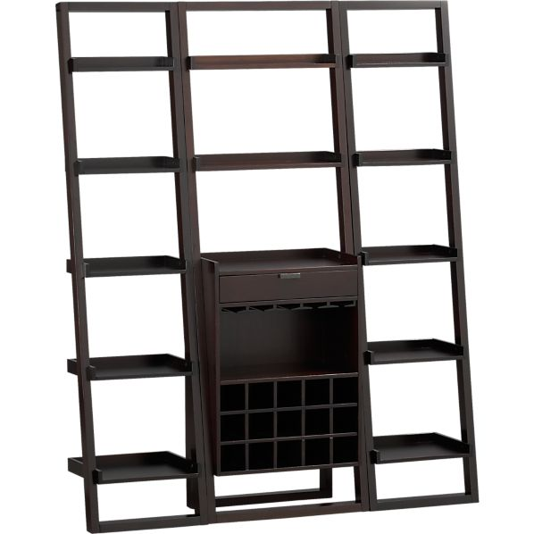 "Sloane Espresso Leaning Wine Bar with 2 18"" Bookcases"