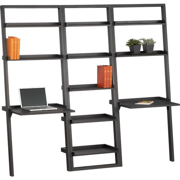 "Sloane Grey Leaning 25.5"" Bookcase with Two Desks"