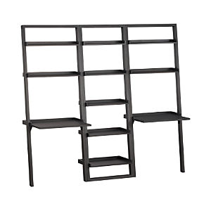 Sloane Grey Leaning Bookcase and 2 Desks Set