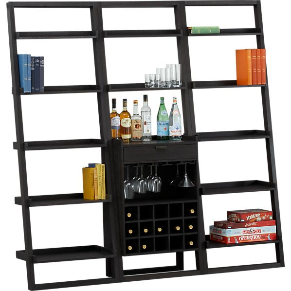 "Sloane Grey Leaning Wine Bar with Two 25.5"" Bookcases"
