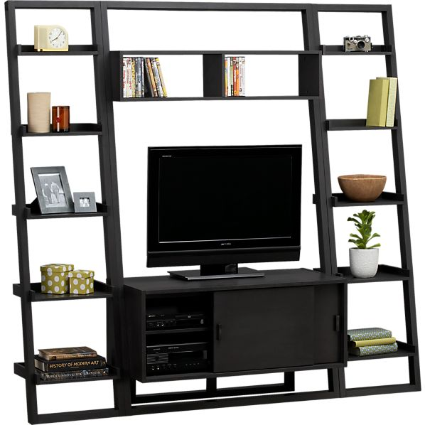 "Sloane Grey 43.75"" Leaning Media Stand with Two 18"" Bookcases"