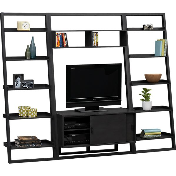 "Sloane Grey 43.75"" Leaning Media Stand with Two 25.5"" Bookcases"