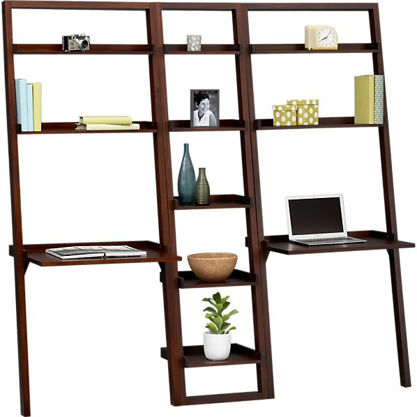 "Sloane Java 18"" Leaning Bookcase with Two Desks"