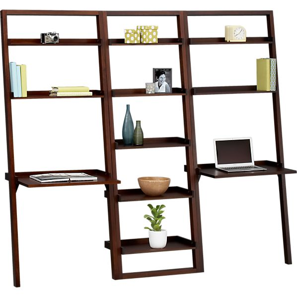 "Sloane Java 25.5"" Leaning Bookcase with Two Desks"