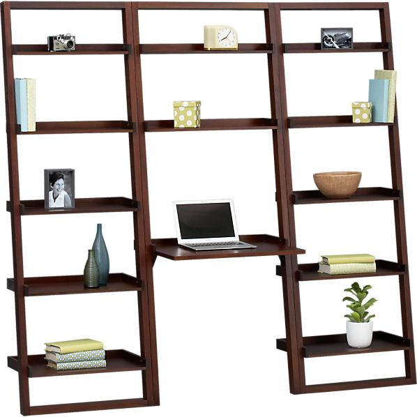 "Sloane Java Leaning Desk with Two 25.5"" Bookcases"